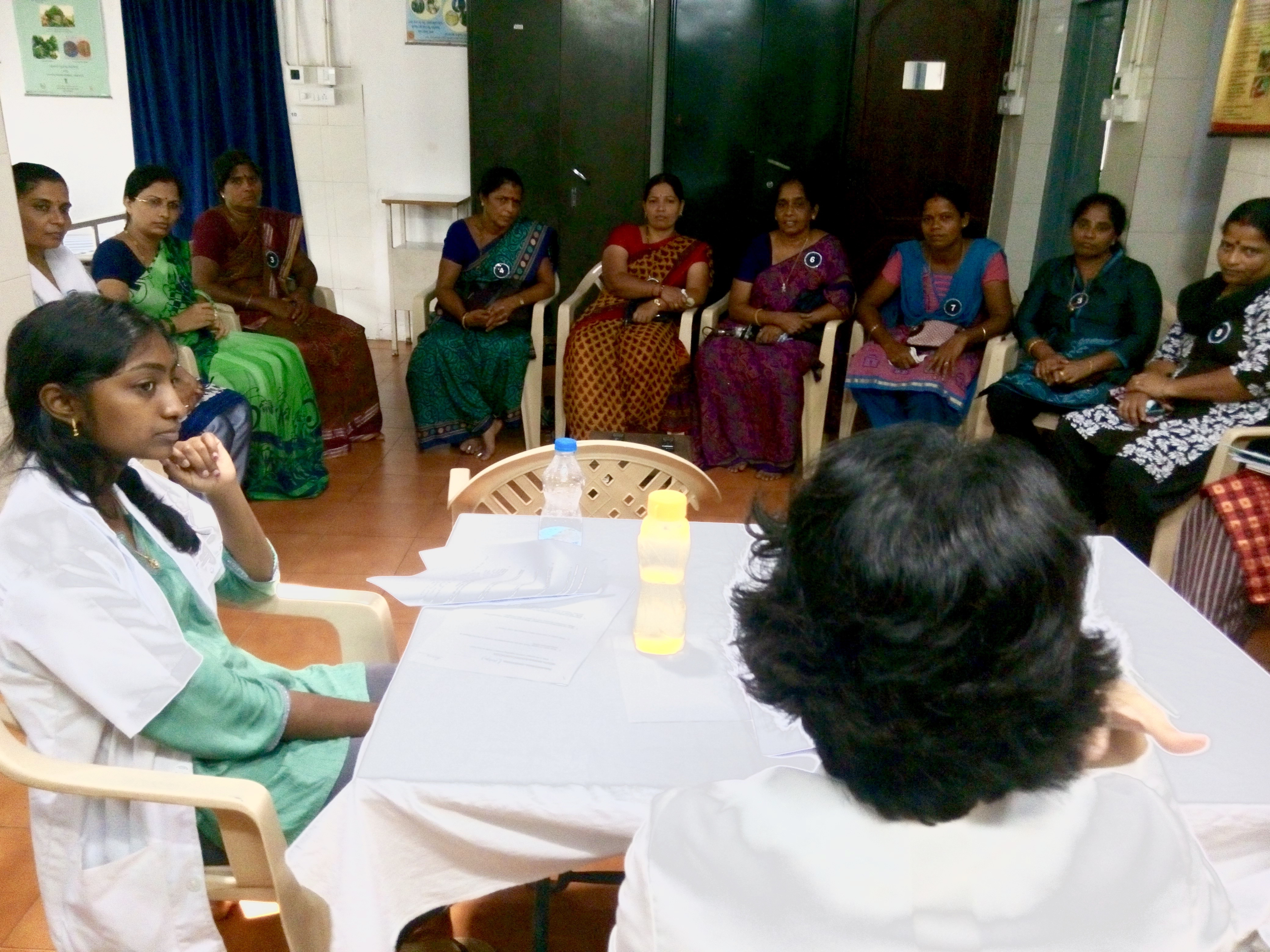 This picture shows a focus group discussion at the Malpe clinic in Manipal, Karnataka, India. Many of the questions posed to the women were designed to elicit their attitudes towards reproductive healthcare and cancer screenings. During this discussion, I learned much about the barriers to healthcare that these women face, from oppressive husbands to unsupportive neighbors to arrogant doctors. Towards the end, the women bombarded us with questions about their reproductive system that they had never received answers to. Here, the women of the group and I, are watching the doctor explain the difference between a urethra and a vagina.
